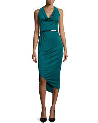 Cowl-Neck Asymmetric Cocktail Dress, Dark Pine