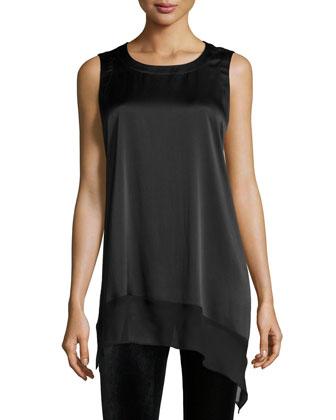 Stretch Silk Charmeuse Asymmetric Tunic, Black, Women's