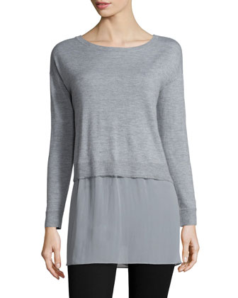 Featherweight Cashmere Box Top with Silk Block