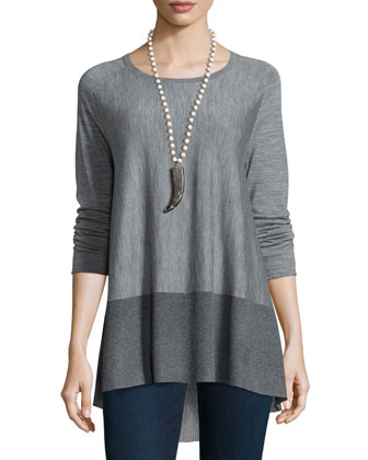 Long-Sleeve High-Low Tunic W/ Sparkle, Women's