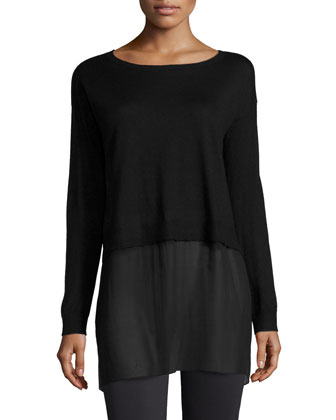 Featherweight Cashmere Box Top with Silk Block, Women's