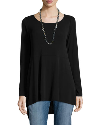 Long-Sleeve Jersey Swing Top, Petite