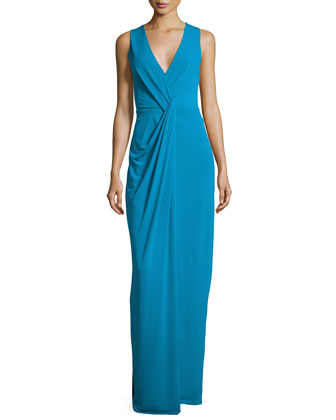 Sleeveless Drape-Front Evening Gown, Turquoise