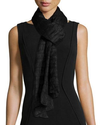 Alpaca-Blend Knee-Length Coat, Crepe de Chine Tunic, Felted Striped Wrap & ...