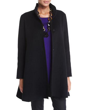 Brushed Wool Swing Coat, Merino Jersey Asymmetric Tunic, Merino Jersey ...