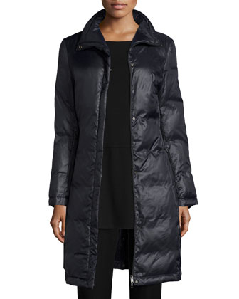 Long Eggshell Puffer Jacket, Women's