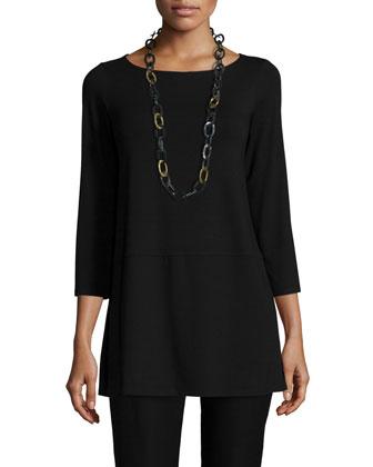 3/4-Sleeve Jersey Tunic, Black, Petite
