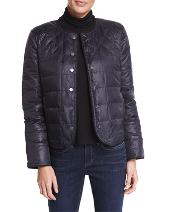 Reversible Puffer Snap-Front Jacket