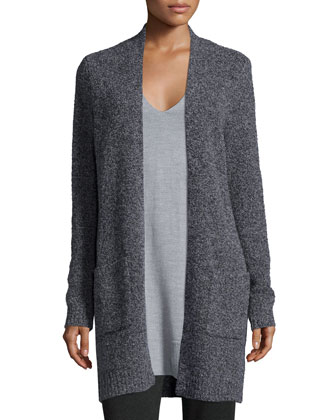 Wool-Blend Melange Long Cardigan