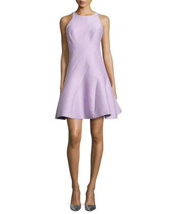 Sleeveless Structured Bias-Cut Dress, Thistle