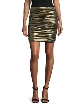 Metallic Ruched Pencil Skirt, Gold