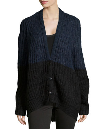 Long-Sleeve Ribbed Cardigan, Navy/Black