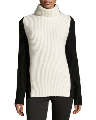 Long-Sleeve Ribbed Colorblock Sweater, Chalk/Black