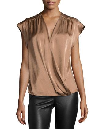 Cap-Sleeve Wrap-Front Blouse, Light Rust