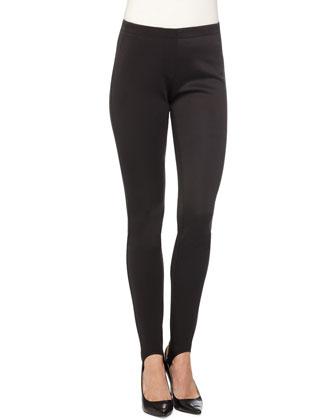 Skinny Neoprene Stirrup Pants, Black