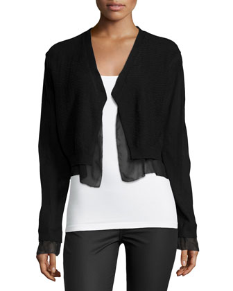 Long-Sleeve Layered-Hem Cardigan Jacket, Black