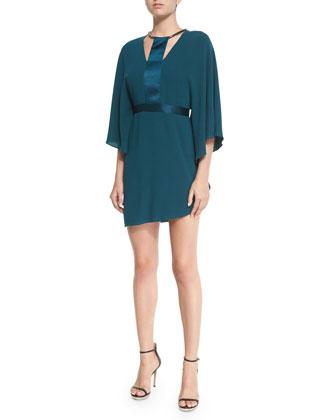 Half-Sleeve Dress W/Contrast Trim, Spruce