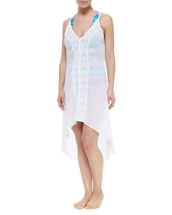 Embroidered High-Low Maxi Coverup, White