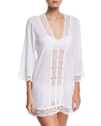 Embroidered-Inset Tunic Coverup