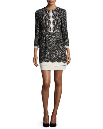 Elyssa Scalloped-Lace Dress, Oatmeal