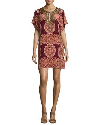 Brama Embellished Shift Dress, Garnet