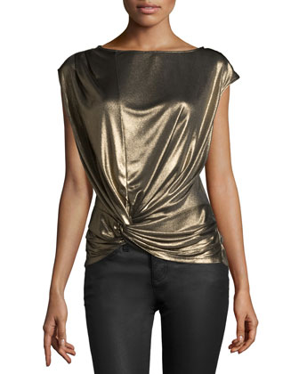 Cap-Sleeve Metallic Top, Gold