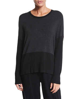 Long-Sleeve Colorblock Top, Petite