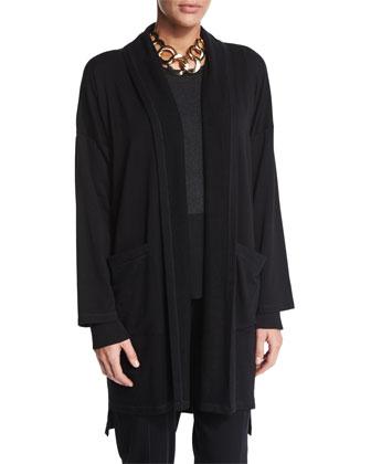 Tencel® Lyocell Kimono Coat, Long-Sleeve Colorblock Top Merino Jersey ...