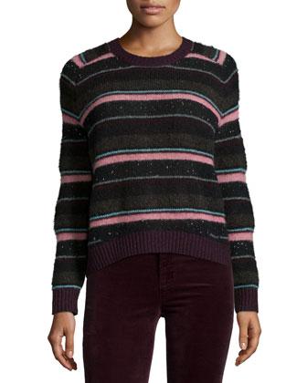 Ramona Striped Long-Sleeve Sweater & Mid-Rise Super-Skinny Jeans