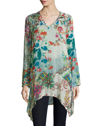 Mode V-Neck Printed Tunic