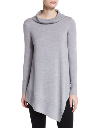 Long-Sleeve Merino Asymmetric Turtleneck Tunic