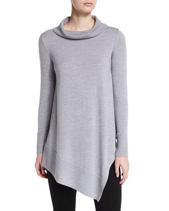Long-Sleeve Merino Turtleneck Tunic, Women's
