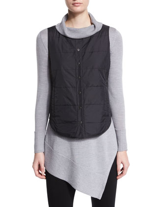Classic Puffer Round Neck Vest, Long-Sleeve Merino Turtleneck Tunic & ...