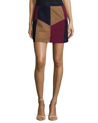Kewa Patchwork Suede Skirt, Multi Colors