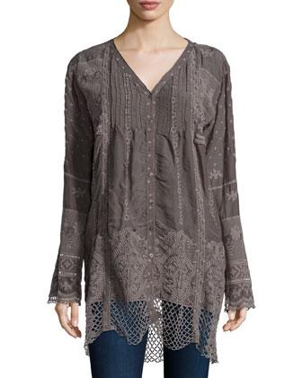 V-Neck Long Tunic W/ Crochet Hem