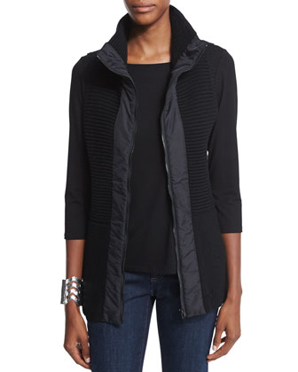 Stand Collar Ribbed Parka Vest, Women's
