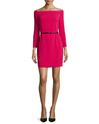 Off-The-Shoulder Belted Cocktail Dress, Ruby