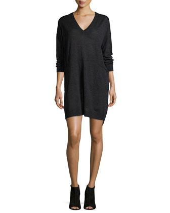 Long-Sleeve V-Neck Jersey Dress, Women's