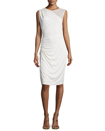 Sleeveless Round-Neck Cocktail Dress, Cream