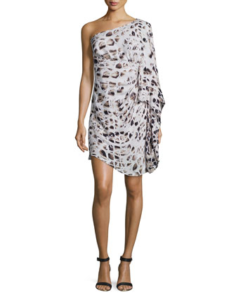 One-Shoulder Printed Cocktail Dress, Feams