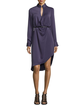 Long-Sleeve Belted Dress, Plum