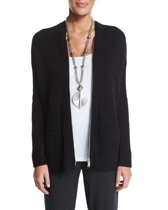 Ribbed Zip-Front Cardigan, Organic Cotton Slim Tank, Straight-Leg Pants & ...