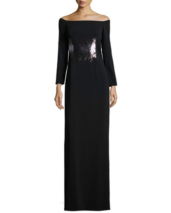 Long-Sleeve Embellished Evening Gown, Black