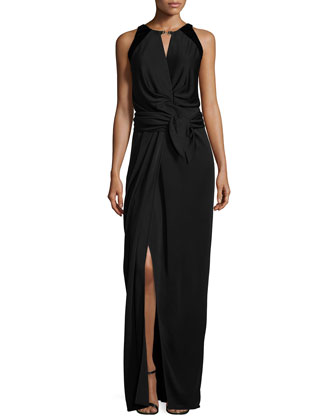 Sleeveless Front-Tie Evening Gown, Black