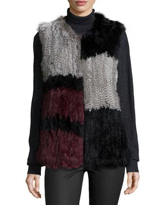 Colorblock Rabbit-Fur Vest, Multi Colors