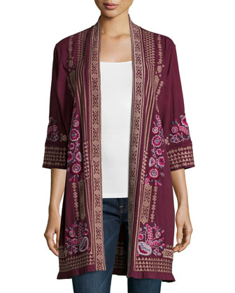 Laura Long Embroidered Cardigan, Women's