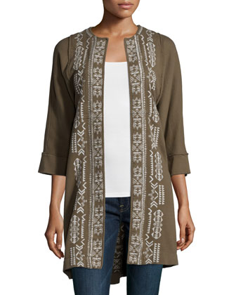 Lelko Embroidered Coat W/ Raw Seams, Women's