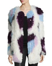 Bee Long-Sleeve Fur Jacket, Ivory