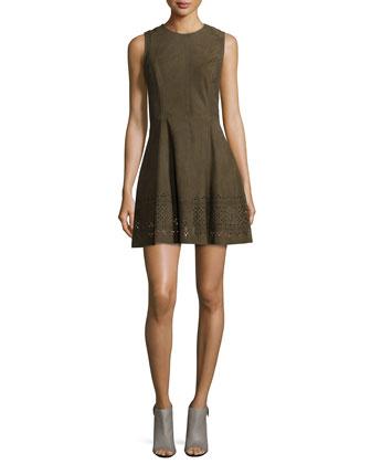 Zuni Sleeveless Suede Dress, Olive