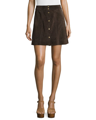 Le Wrap Neck-Tie Shirt & Le Paneled Suede Mini Skirt